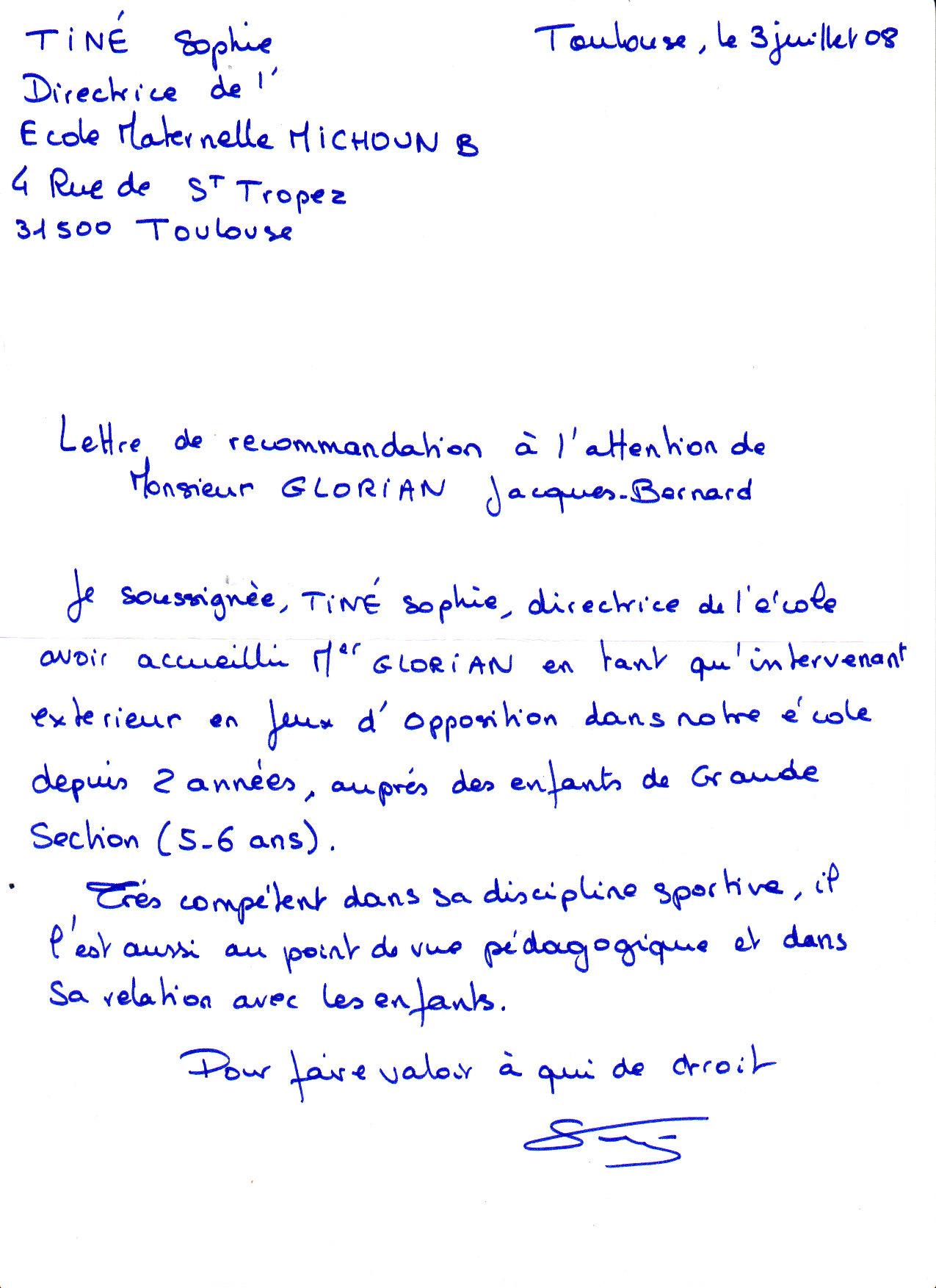 la lettre de recommandation